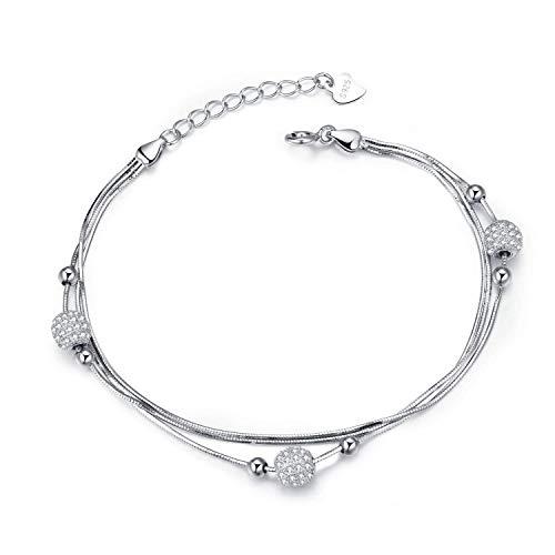 J.Vénus Verstellbares Damen Armband - 925 Sterling Silber Armkette Schmuck für Frauen(16.5+3 cm)