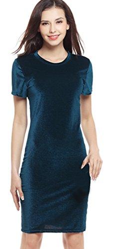La Vogue Robe Midi Genou Manche Courte Col Rond Moulant Crayon Slim Femme Vert