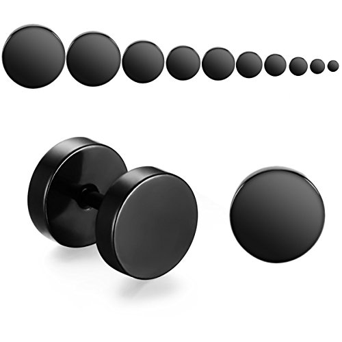 9 Paare 3-12 mm Tian Edelstahl Herren Ohrstecker Creolen Tunnel Ohrringe für Damen Fakeplug Fake Plug Ohrringe Edelstahl Herren Pierced Earrings Schwarz Stainless Steel Mens Womens Stud Earrings Set Ear Piercing Plugs Tunnel Punk Style