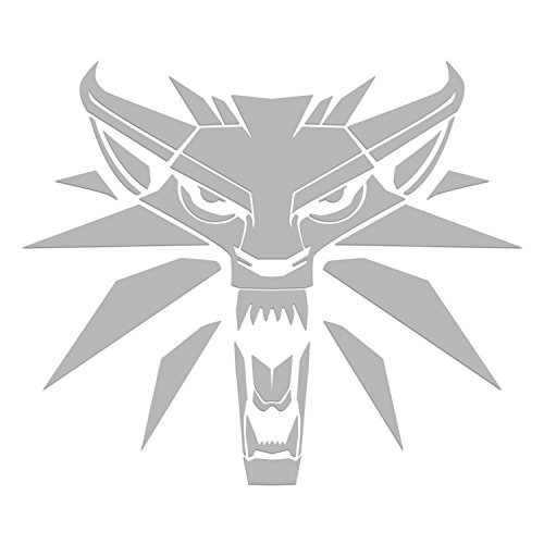 White Wolf Logo von Witcher Video Gamevinyl-Sticker Symbol, 14 cm dekorativ, Stanz-Aufkleber für Autos, Tablets, Laptops, Skateboard, Schwarz -