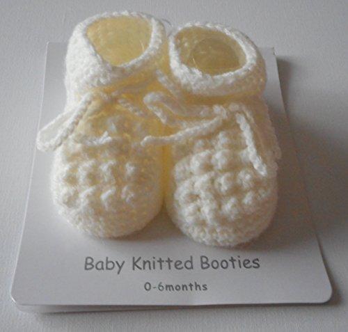 Paar Hausschuhe/Booties gestrickt, für Bebe Säuglinge, weiß oder creme creme