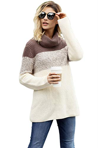 Women's Autumn/Winter Solid Long Drop Sleeves Loose Knit Pullover Oversize Jumper Knit Sweater Coffee (UK8-10) Small - Dolman Sleeve-wrap