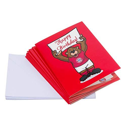 FC Bayern München Einladungskarten, Karten, Klappkarten 10er Set FCB - Plus gratis Lesezeichen I Love München