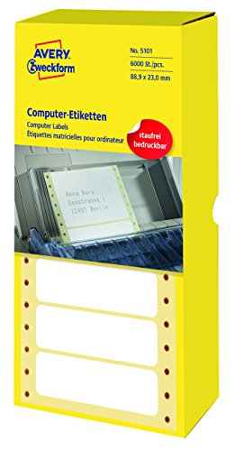 Avery Zweckform 5101 Computer-Etiketten (Papier matt, 6,000 Etiketten, 88,9 x 23 mm) 1 Pack weiß