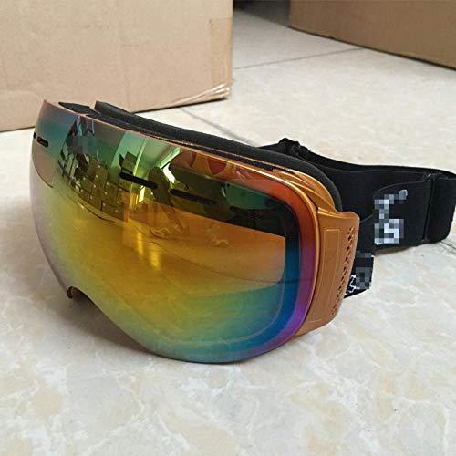 Zhuwuneng Winter Outdoor-Skibrille Doppel-Anti-Fog-Skibrille Outdoor-Kletterspiegel Sanddicht Groß Kugelförmig Männlich, Braun