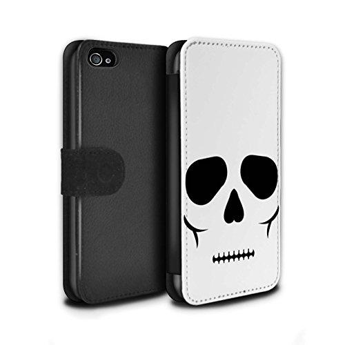 Stuff4® PU-Leder Hülle/Case/Tasche/Cover für Apple iPhone 4/4S / Schädel Muster/Halloween Zeichen Kollektion