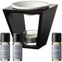Duftöl Set mit Duftlampe - herbe Düfte - Sandelholz, Moschus, Bittermandel - Aromaöl für Duftlampe und Diffuser... preisvergleich bei billige-tabletten.eu