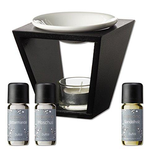 Duftöl Set mit Duftlampe - herbe Düfte - Sandelholz, Moschus, Bittermandel - Aromaöl für Duftlampe und Diffuser von miaono -