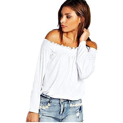 FEITONG Sin tirantes de las mujeres de moda Camisa de manga larga de la blusa de las tapas