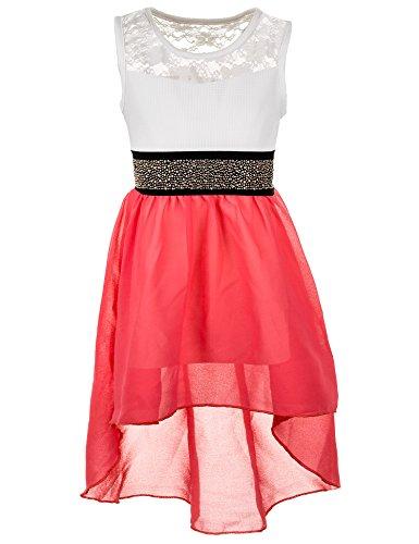(Fashionteam24 Festliches Sommerkleid in vielen Farben M361pi Pink Gr. 10/128 / 134)
