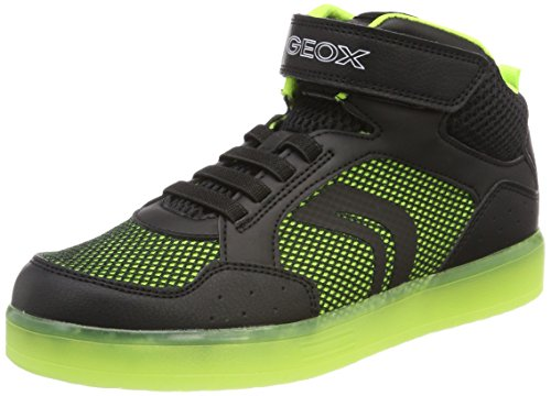 Geox Jungen J Kommodor Boy C Hohe Sneaker, Schwarz (Black/Lime), 39 EU