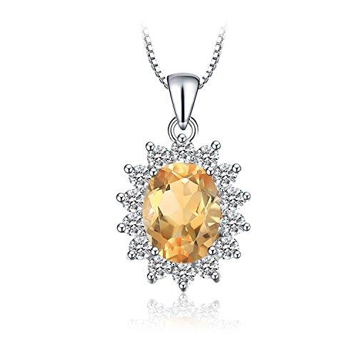 JewelryPalace Kate Prinzessin Diana 1.8ct Natürliche Citrin Halo Anhänger Halskette 925 Sterling Silber 18 Zoll Natürlichen Citrin Ring