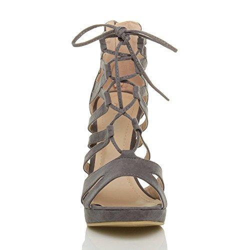 Damen Hoher Absatz Plateau Schnüren Reimchen Peep Toe Sandalen Pump Schuhe Größe Grau Wildleder