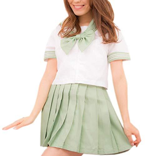 WSLCN Damen Mädchen Suit Sets Tops mit Rock Japanische Cosplay Kostüm Maskerade Party Gras Grün Asie S: Brust:80-82CM