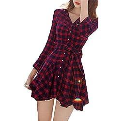 Mytom Falda Mini A Cuadros Vestido Casual Manga Larga Para Mujer ( ES 36 )