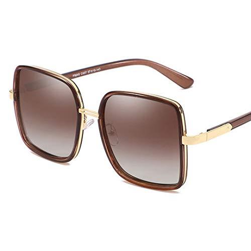 Hjyi Platz polarisiert Sonnenbrillen für Damen Polarisierte Aluminiumlegierung Rahmen Sonnenbrille Mode Fahren Sonnenbrillen UV400 Gläser Großer Rahmen gegen UV-Schattierung