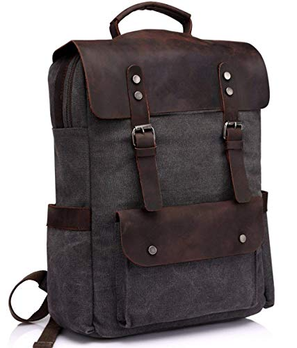974a76ebf TENSKY Vintage Canvas Leather Backpack Campus Book-Bag Outdoor Recreation  Fits 15.6 in Laptop
