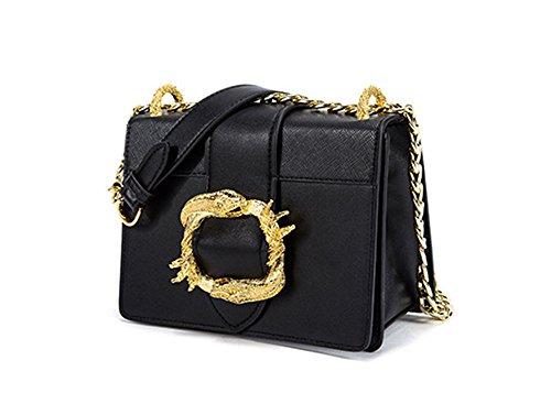 Xinmaoyuan Borse donna serpente metallico lato fibbia piccola piazza borsa tracolla diagonale pacchetto della catena di borsette in cuoio,verde Nero