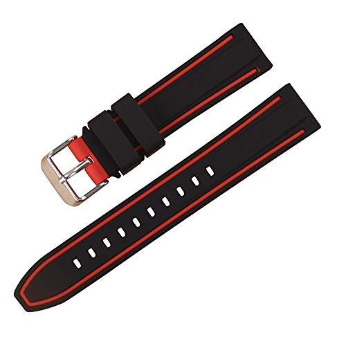 Uhrenarmband Armband Damen Schwarzes Taucheruhrenarmband Gummi Genitalsit-Watchstrap-Lins2667 mit gebürstetem Edelstahlschnallenverschluss 20mm-26mm - Uhrenarmband 23mm Silikon