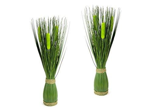 Gras, Pflanzen (Flair Flower Grasbund 2er Set, Polyester, Kunststoff, Bast, Grün, 47 x 9 x 9 cm, 2-Einheiten)