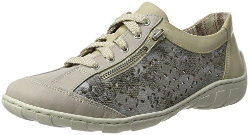 Rieker M3706, Chaussures De Sport Basses Pour Femmes Gris (acier / Grau-metallic / Blanc Cassé / 43)