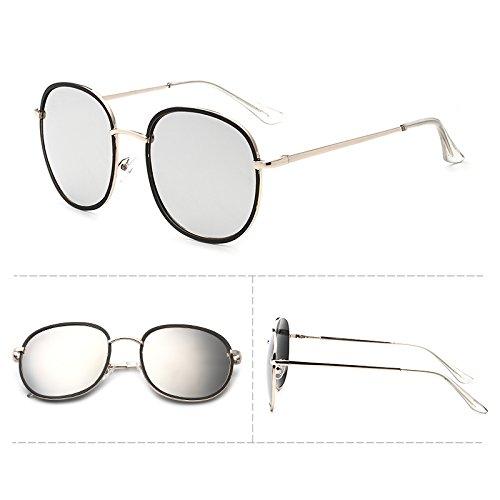 ue sonnenbrille, flut frau, elegante persönlichkeit, rundes gesicht, retro - sonnenbrille, runde frau, star - models,black box das weiße gold bein (stoff) quecksilber (Gold Quecksilber)