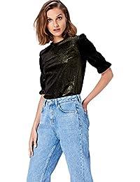 FIND T-Shirt en Velours Métallisé Femme