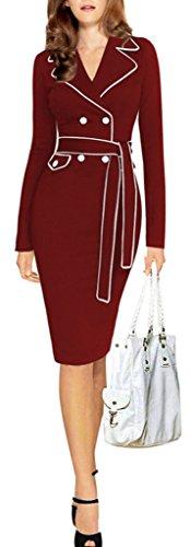 Eyekepper robe travail Elegant couleur Robe de femmes slim longue manche Bordeaux