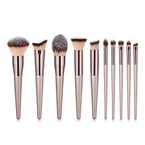 Xfun Make-up Pinsel Set 10pcs Professionelle Make-up Pinsel Kosmetik Foundation Blending Eyeliner Puderpinsel Make-up Pinsel Kit-Champagner