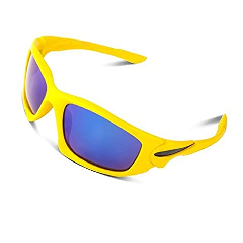 RIVBOS Polarized Sports Sunglasses Driving Glasses for Men Women Tr90 Unbreakable Frame for Cycling Baseball Running Rb828 (TR90 Yellow)