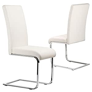 Tinxs set of 2 stylish white durable faux leather dining for White leather high back dining chairs