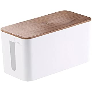 Callstel Kabel Organizer: Kabelbox klein, 23 x 11,5 x 12 cm, Nussbaum-Holzoptik mit Gummifüßen (Ladebox)