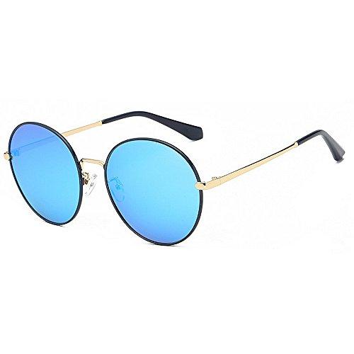 Yiph-Sunglass Sonnenbrillen Mode Kleine runde Form Frauen polarisierten Sonnenbrillen Full Frame UV-Schutz Fahren Sonnenbrillen für alle Gesicht (Farbe : Blau)