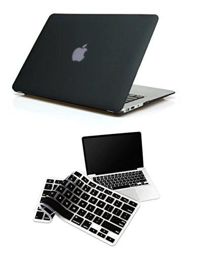 "Pindia Black Matte Finish Apple Macbook Pro 13 13.3 "" Flip Thin Rugged Armor Hybrid Bumper Hard Case Shell Cover Combo Keyboard"