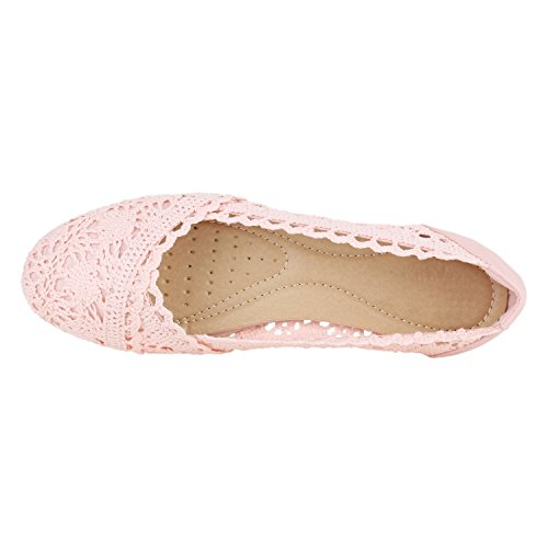 Damen Ballerinas | Slipper Flache Schuhe | Spitze Häkeloptik | Feminine Slip-ons | Stoffschuhe Strass Metallic Rosa Rosa Weiss