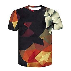 ZzSTX T-Shirt Hip Hop 3D Farbe Animation Männer 3D T-Shirt Sommer Cool Tees Tops Kleidung