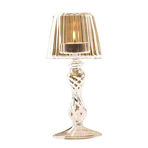 Surenhap Kerzenhalter Tischlampe Glas Metall Vintage Teelicht Kristall Antiken Stil für Café Hause Deko -