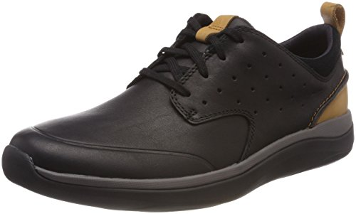 Clarks Herren Garratt Lace Derbys, Schwarz (Black Leather), 44 EU