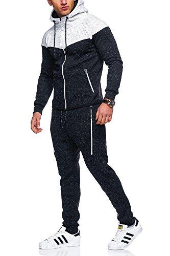 MT Styles Herren Trainingsanzug 2-Colour Jogginganzug Sportanzug R-971 [Schwarz, L]