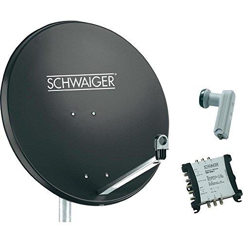 Schwaiger SAT Anlage 80 cm 6 Teilnehmer Quattro-LNB (ohne Switch) Anthrazit mit Multischalter 5/6
