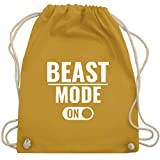 CrossFit & Workout - Beast Mode ON - Unisize - Senfgelb - WM110 - Turnbeutel & Gym Bag