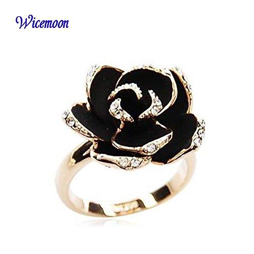 Wicemoon Bague fleur rose noire fantaisie plaqué Or Solitaires en Strass et Email noir original pour Femme comme Cadeau de Noël Anniversaire Mariage