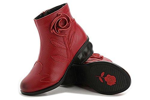Schuhe Kurz Rot Lederoptik Damen Blumen Stiefel Mädchen Absatz Mit qwxR40F