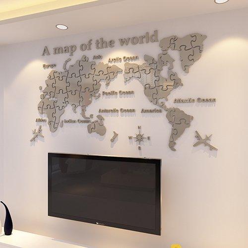 Hccy 3d mappa tridimensionale degli adesivi murali acrilici mondo ufficio soggiorno decorazioni sala tv sfondo adesivi personalizzati adesivi parete in acrilico, b zona grigia, di grandi dimensioni