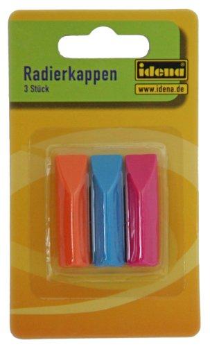 Idena 522227 - Radierkappen, 3er Pack, für Standart - Bleistifte, orange/türkis/pink