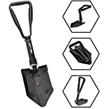 Pelliot Camping Folding Shovel, Military Carbon Steel Snow Shovel Collapsible Survival Entrenching Tool with T-Grip Long Handle Space-Saving for Hiking, Trekking, Gardening, Fishing