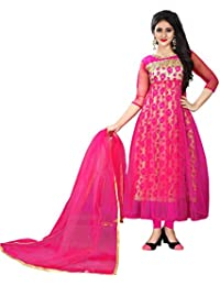Fancy New Collection Party Wear Pink Flower Printed Anarkali Dress For Women New Designer Anarkali Dress (Semi_Stiched...