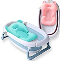 StarAndDaisy SMART Collapsible Temperature Sensitive Plug Folding Infant Bath Tub with Premium Comfort Cushion for 0-3 Years, Blue