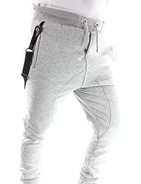 Solamode - Pantalon Sarouel avec bretelles - Gangster Unit - Marouel Men - Unisexe - Gris clair