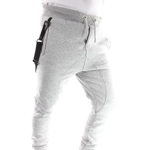 Gangster Hosen (MAROUAL_MEN-LGR - Sarouel hose mit hosenträgern - Gangster Unit - Marouel Men - Unisex - Fashion - Hellgrau - Grau, L /)